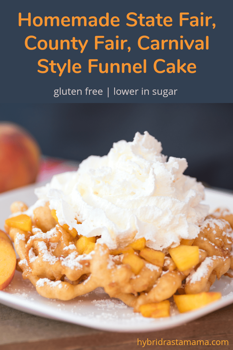 Carnival style gluten free funnel cake topped with peaches and whipped cream