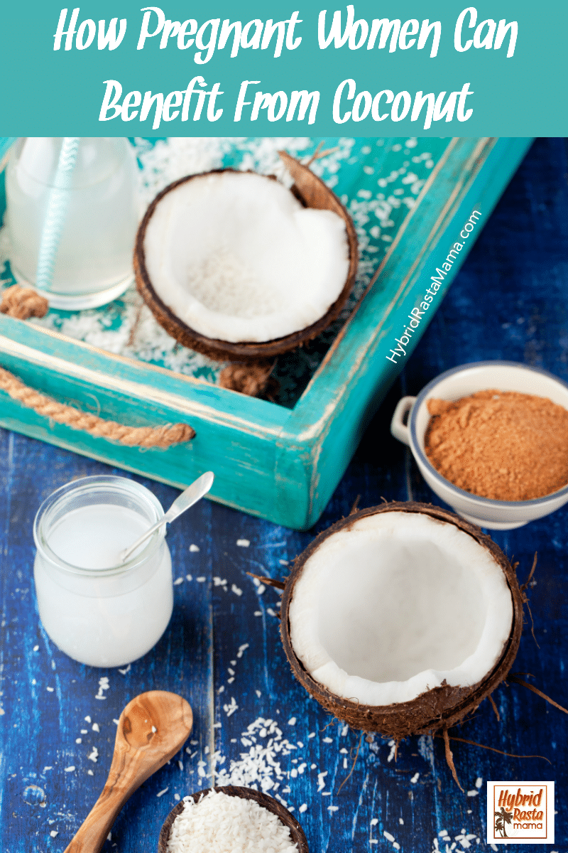 Various types of coconut products (coconut milk, coconut oil, coconut water) on a distressed teal color wood tray. Fresh coconut shaving surround the items.