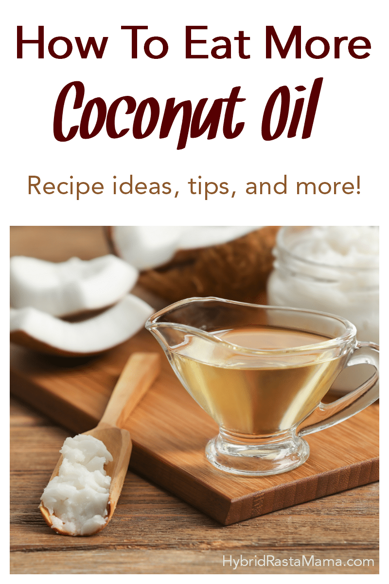 A wooden cutting board with a caraf of melted coconut oil, a wooden spoon, and a coconut in pieces