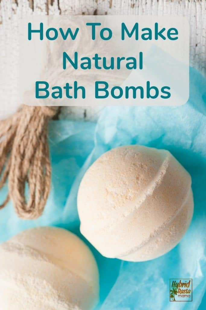 Two easy to make bath bombs on a a turquoise tissue paper background
