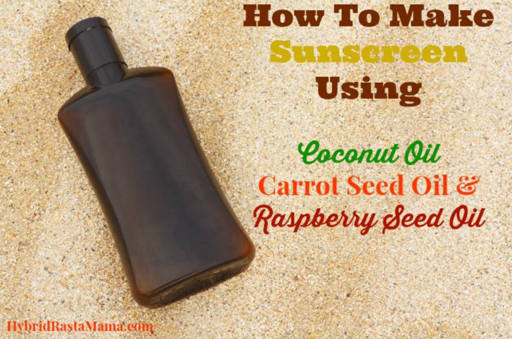 A bottle of homemade sunscreen