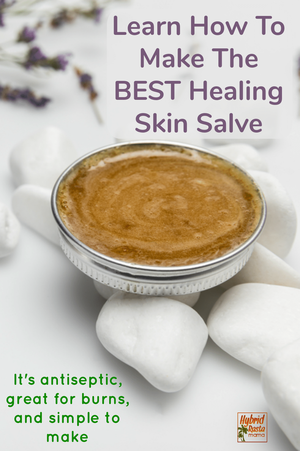 A metal container of the best healing skin salve with lavender in the background