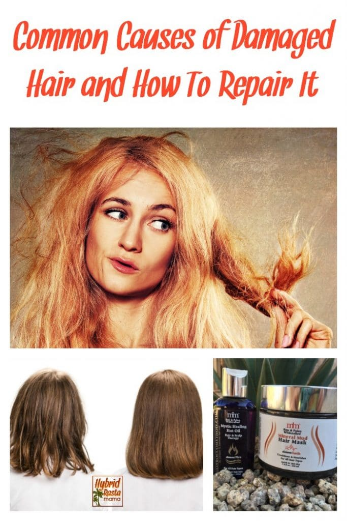 How to repair damaged hair collage of images. Before and after photo, blond woman looking at split ends, and hair repair mask and oil bottles