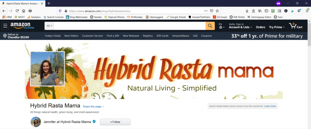 A screenshot of the Hybrid Rasta Mama Amazon Influencer Storefront