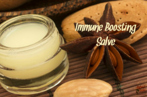 A glass jar with immune boosting lotion