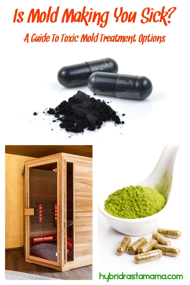 Activated charcoal tablets and powder, sauna, and herbal medicine collage. All items to help you detox from toxic mold.