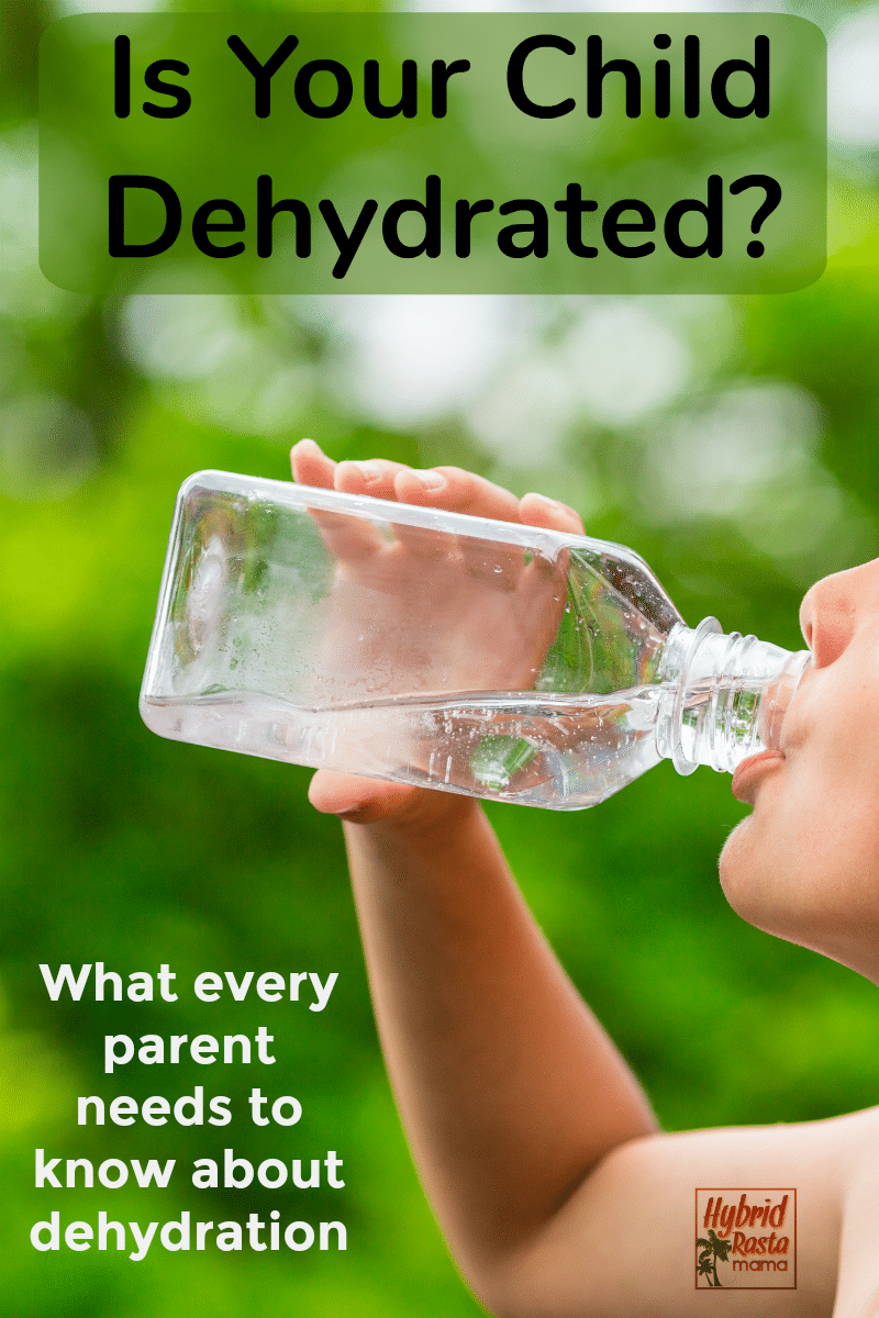 A child drinking water against a faded out park background. A parent wonders if their child is dehydrated.