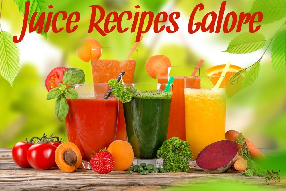 Fresh pressed juices in glasses with fruits and vegetables to make 12 juice recipes