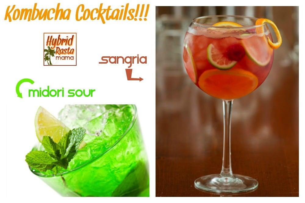 Kombucha cocktails - Midori Sour and Sangria