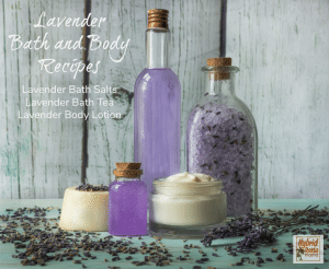 A collection of lavender bath products including lavender bath tea, lavender bath salts, and lavender body butter