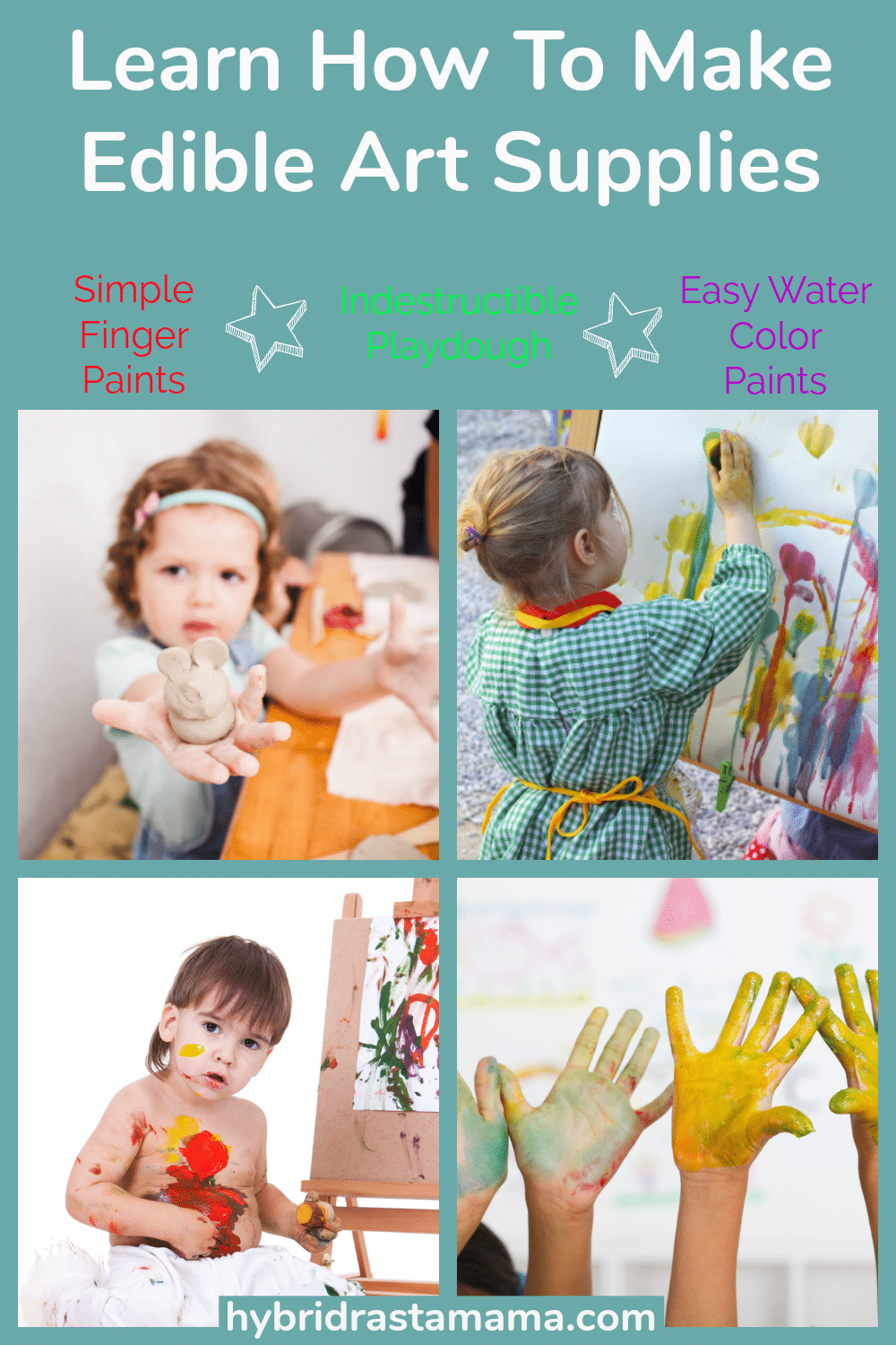 A collage of children using edible art supplies including homemade playdough, fingerpaints, and watercolor paints all made with natural food dye.