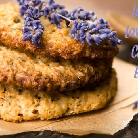 Lavender cookies with a lavender sprig on top