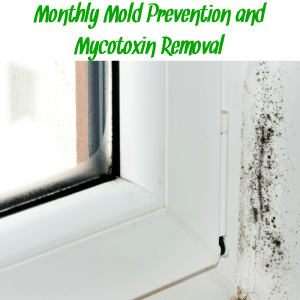 "Mold in window sill with text ""monthly mold prevention and mycotoxin removal"""