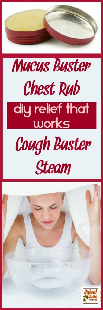 This DIY mucus buster chest rub will have you breathing normally again in no time! Couple it with the cough buster steam & restore your health. From HybridRastaMama.com.