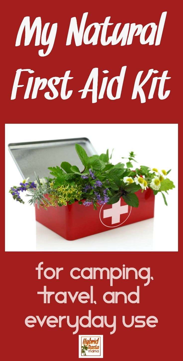 Natural first aid kit with herbal items inside