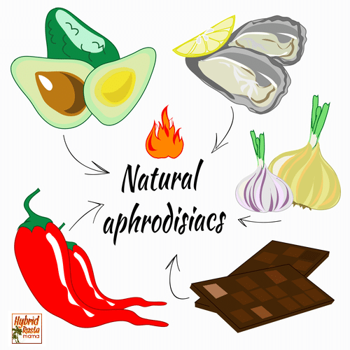 Collage of natural aphrodisiacs including chocolate, oysters, chili peppers, garlic, and avocado.
