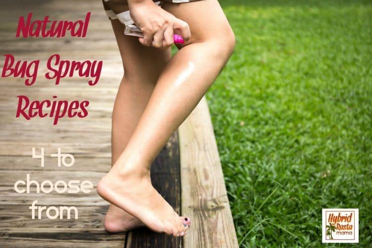 Woman spraying her leg with natural bug spray