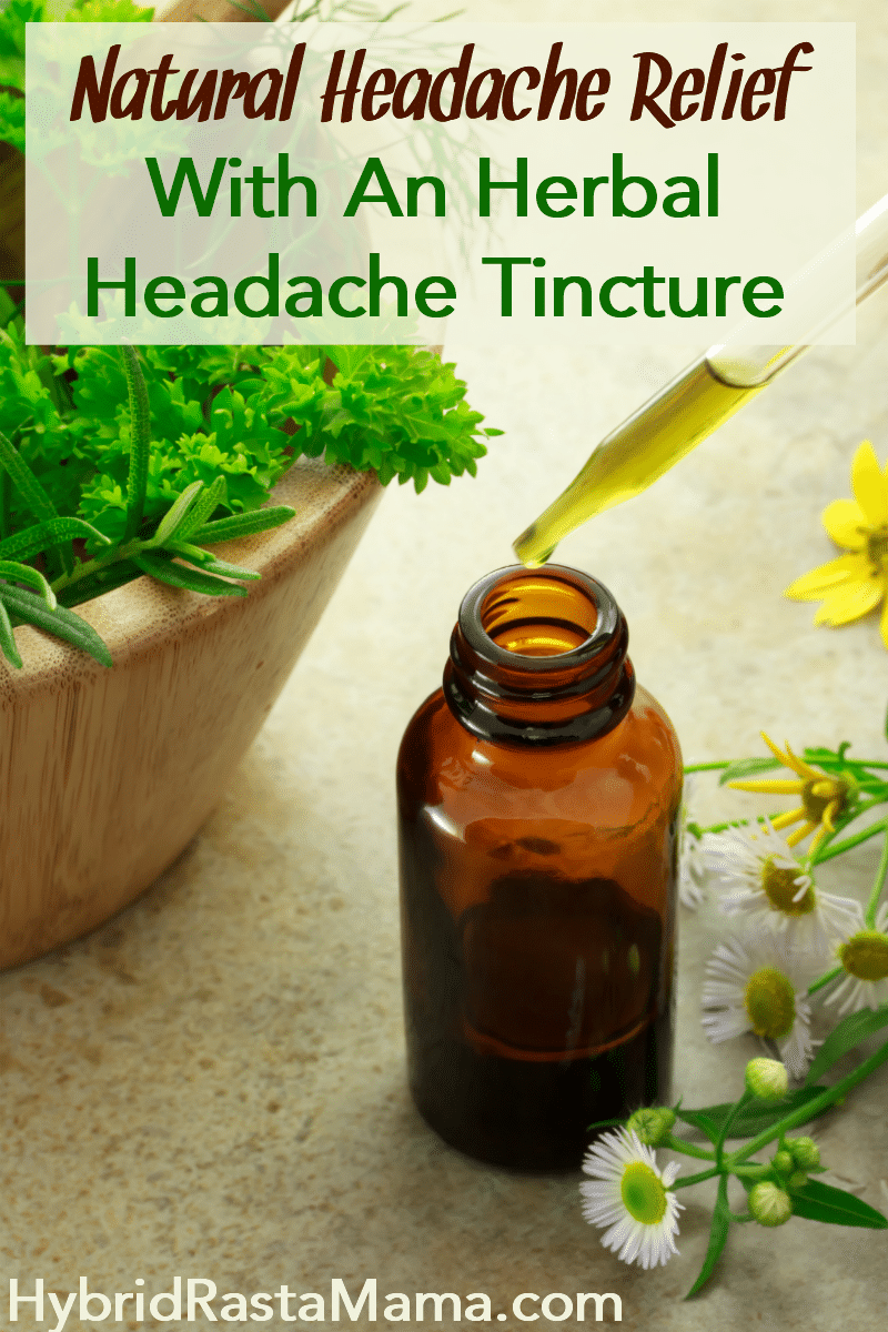 An herbal headache tincture with fresh herbs surrounding it