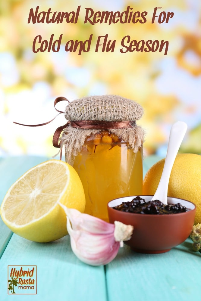 Natural remedies for cold and flu season that get rid of a cold or flu fast! Plus grab my easy bone broth recipe and homemade elderberry syrup recipe. #coldandflu #naturalhealth #bonebroth #elderberrysyrup From HybridRastaMama.com