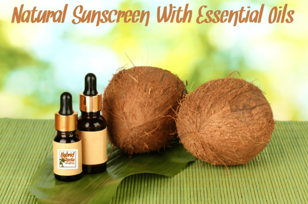 DIY natural sunscreen with essential oils in a dropper bottle next to coconuts