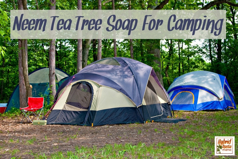 Camping tents at campground with neem tea tree soap for camping