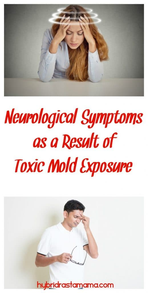 Woman holding head is dizzy; man rubbing between his eyes with pain; both are experiencing neurological symptoms as a result of mold exposure.