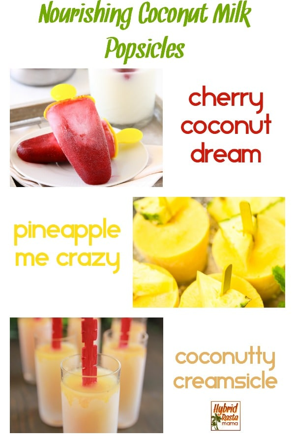 Coconut milk popsicle collage - cherry, pineapple, and creamsicle