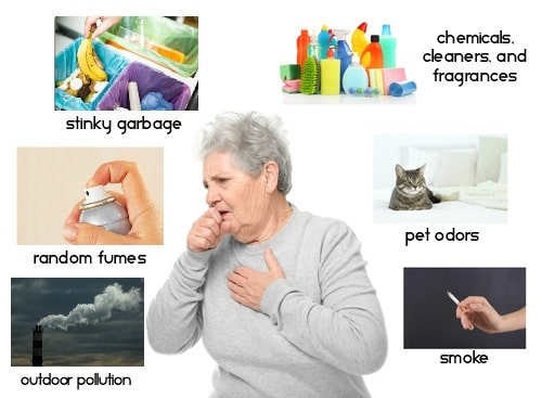 A collage of various indoor air pullution culprits with a woman coughing in the center of it all.