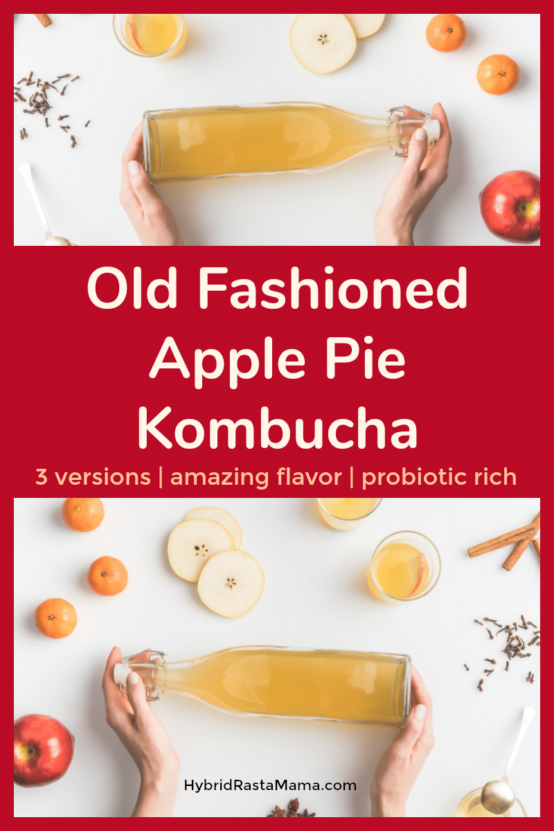 Bottle of old fashioned apple pie kombucha