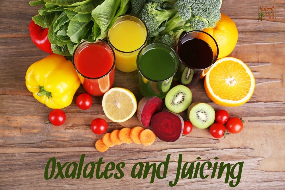 Fruit and vegetable juice in glasses and fresh fruits and vegetables on background - oxalates in juicing