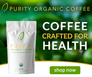 Purity Coffee Bag on green background