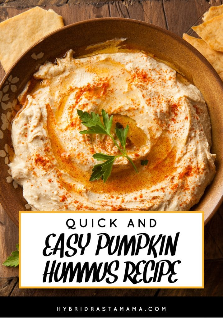 A bowl of quick and easy pumpkin hummus