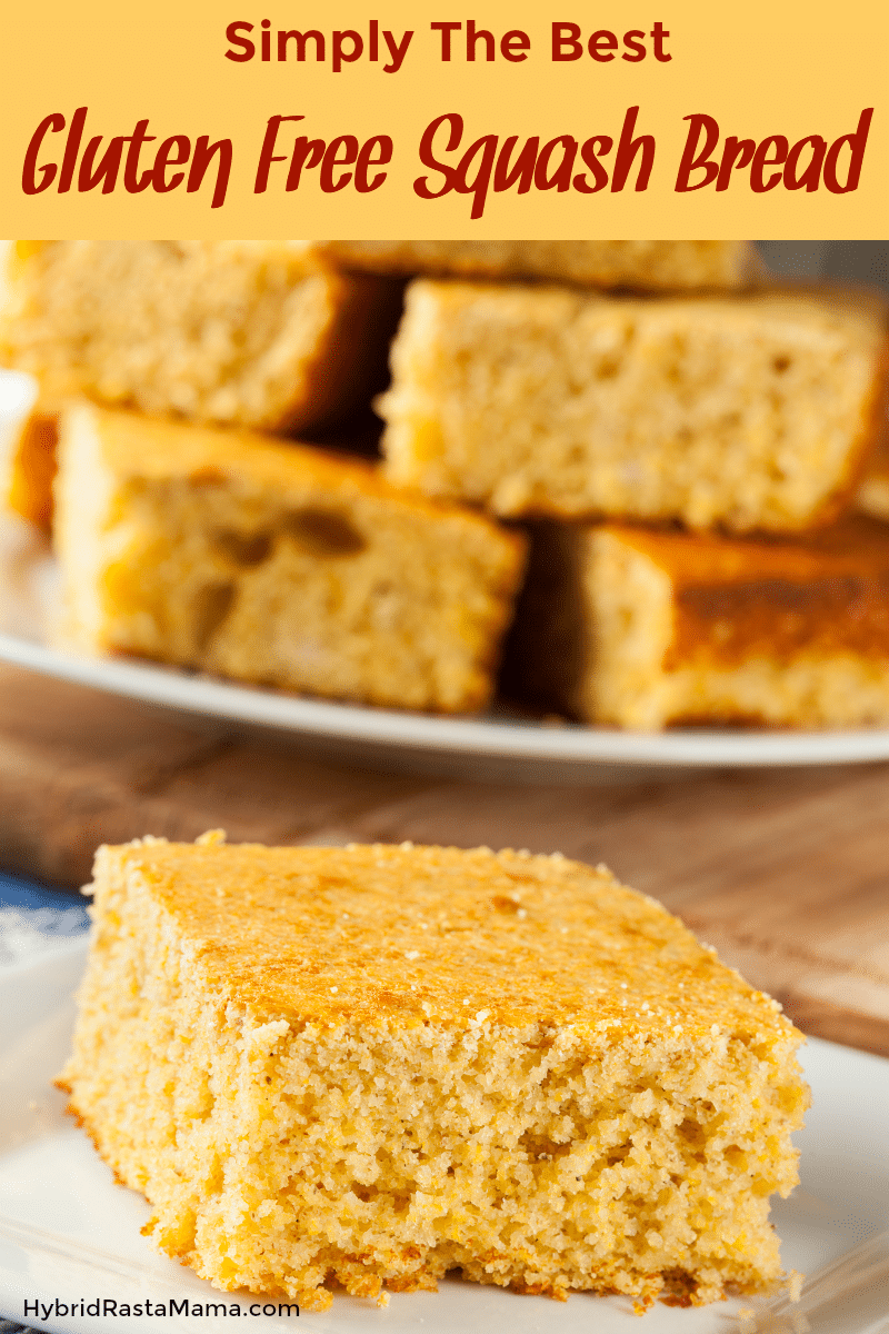 A slice of gluten free squash bread with a plate of slices stacked behind it