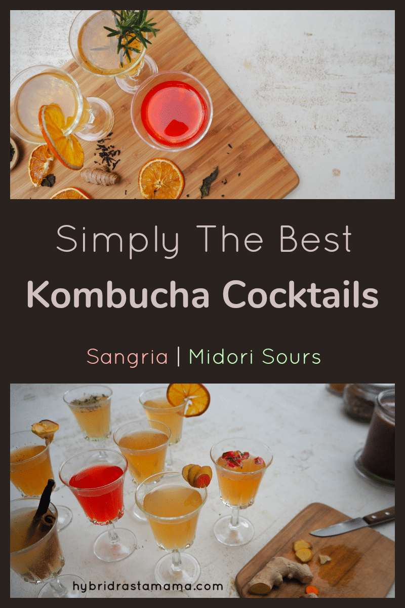 Kombucha cocktails including Midori Kombucha and Kombucha Sangria