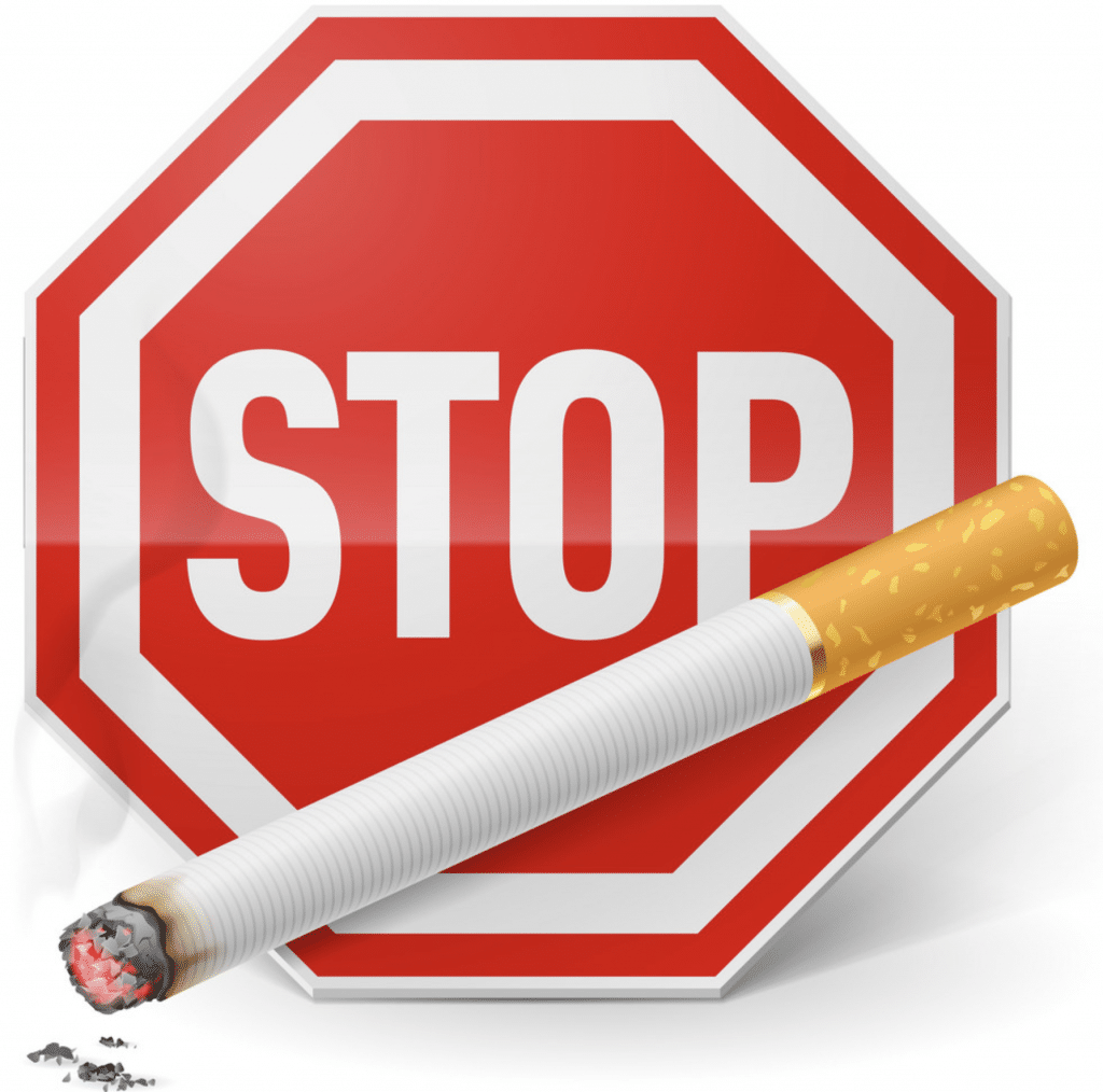 stop smoking sign with a cigarette