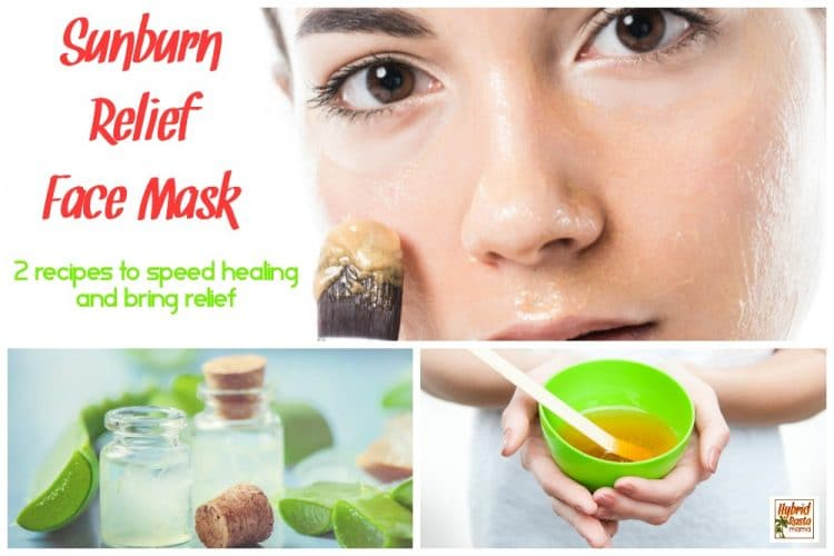 Sunburn relief face mask collage - honey face mask in bowl and aloe gel face mask in small clear jar