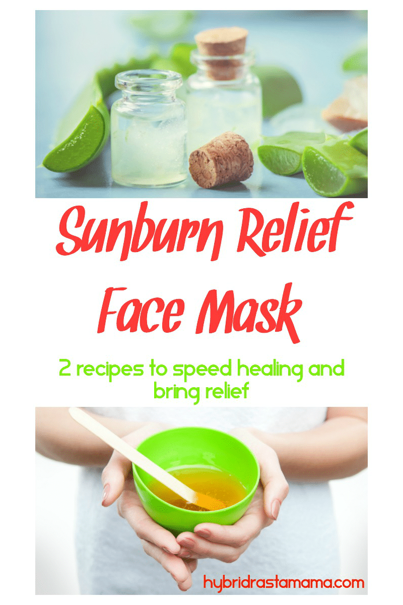 A green bowl with a sunburn relief face mask in it.