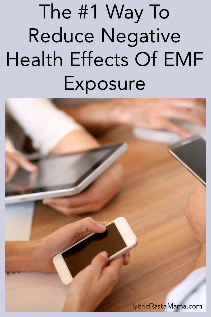 """Business people on their phones, ipads, tablets, and computers. Caption reads """"The #1 Way To Reduce Negative Health Effects Of EMF Exposure."""""""