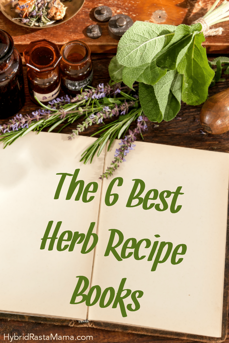 An herb recipe book open on a dark wooden table with fresh herbs surrounding it