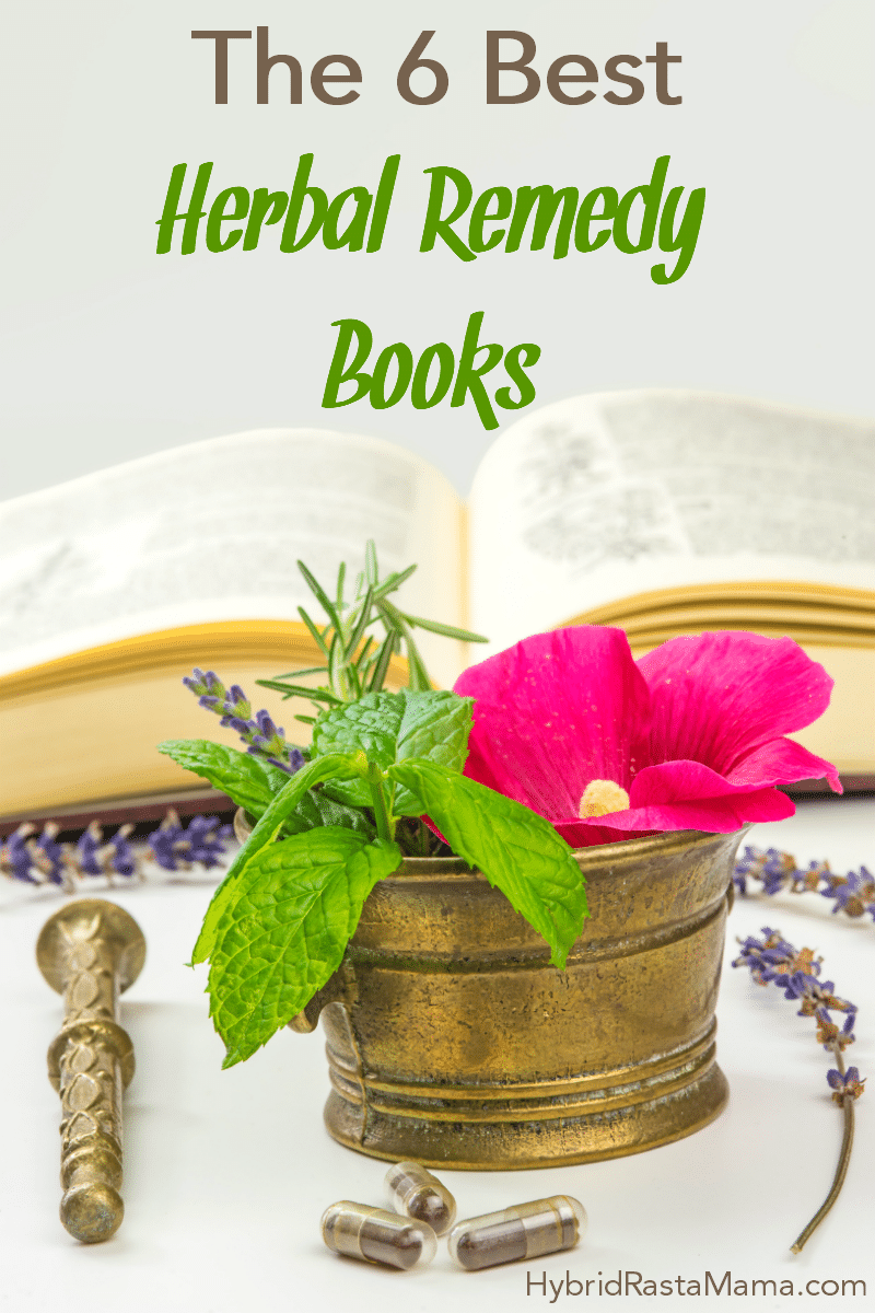 An herbal remedy book open in the background with fresh herbs and a morter and pestle around it