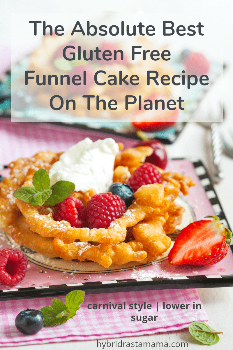 Carnival style gluten free funnel cake with berries and whipped cream topping