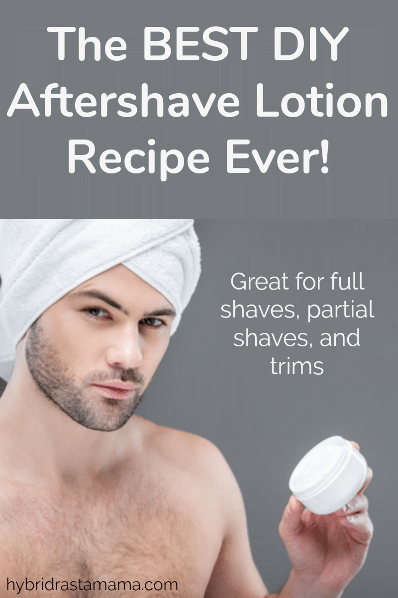 A man with a white towel around his head holding the best homemade aftershave lotion