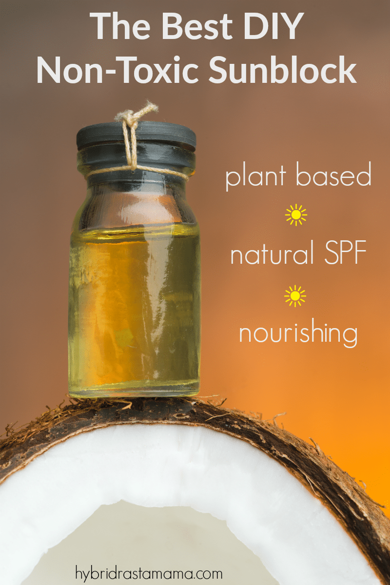 DIY Non Toxic Sunscreen in a clear bottle on top of a coconut half