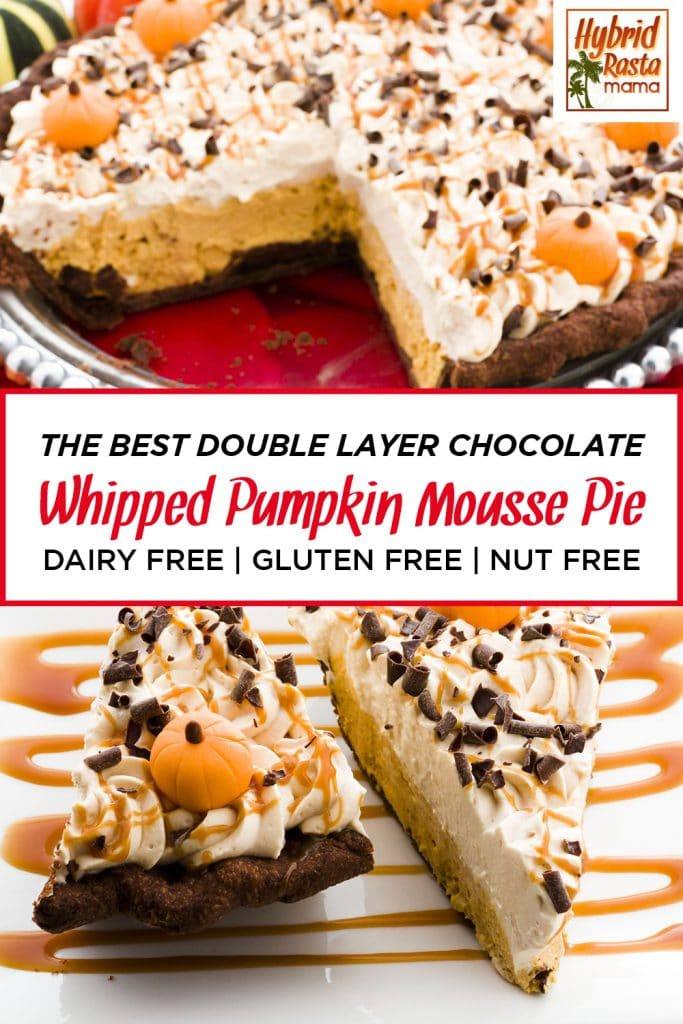 A double layer chocolate whipped pumpkin mousse pie