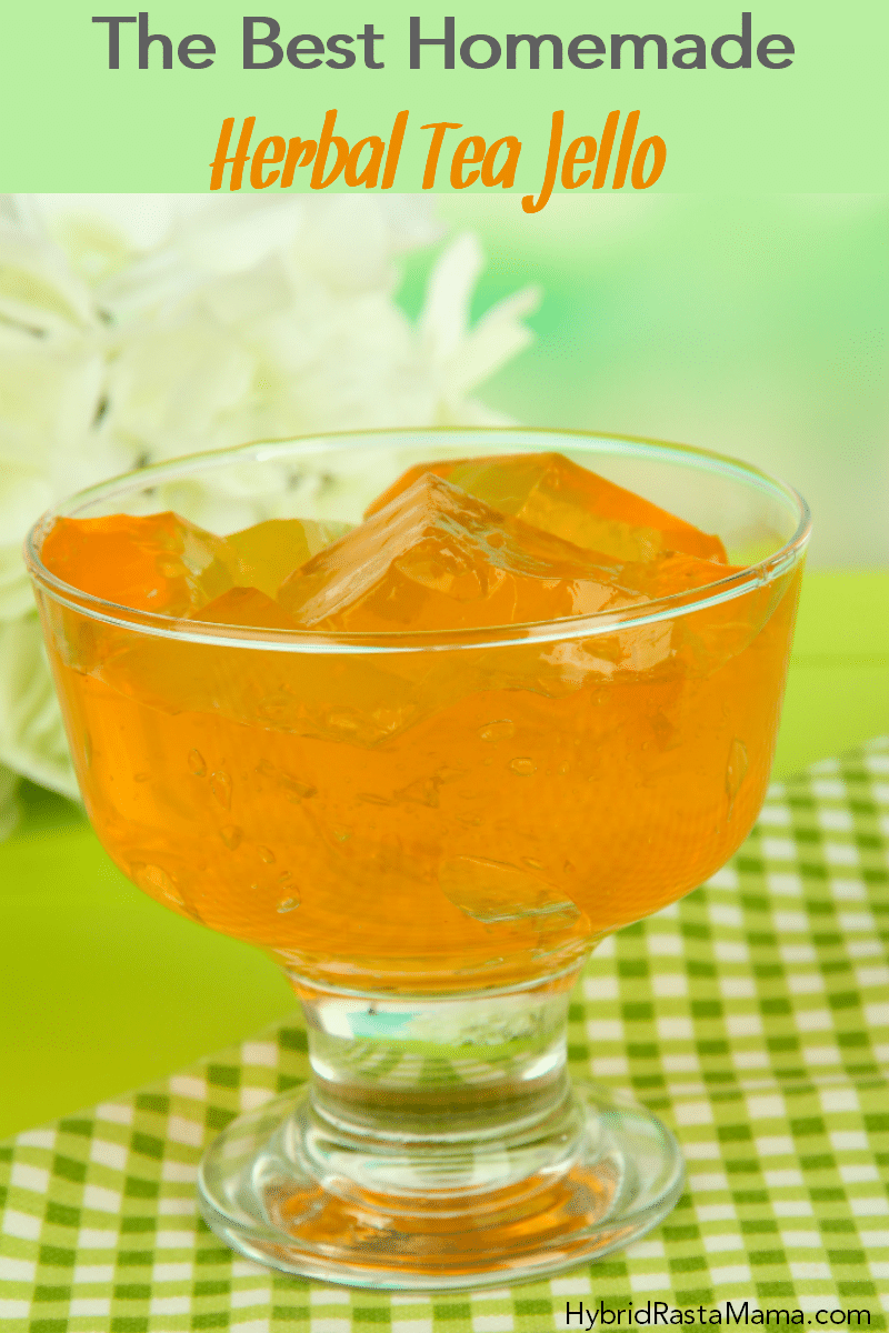 A bowl of homemade herbal tea jello