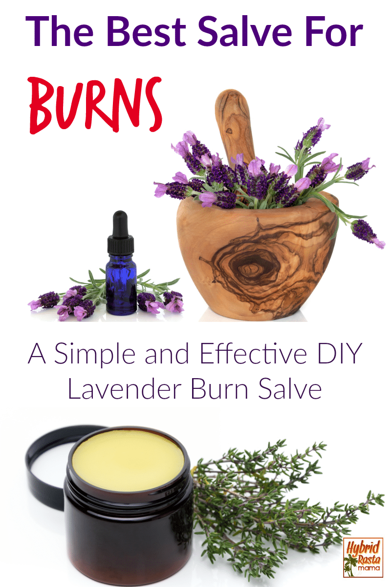 A metal container of lavender salve for burns along with a wooden morter and pestle with lavender in it