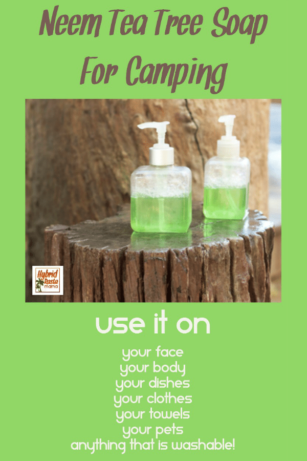 Two bottles of neem tea tree soap for camping on a stump