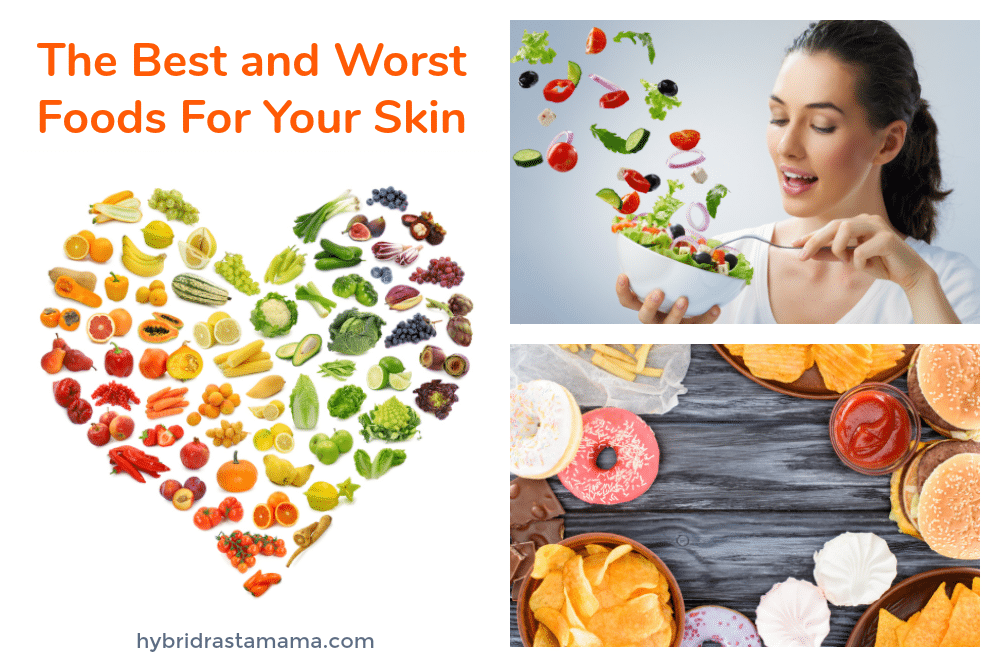 A collage of the best foods for clear skin and foods good for skin