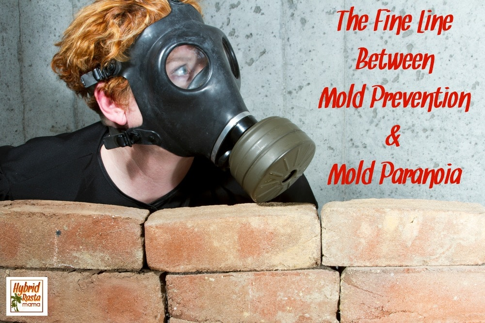 Mold paranoia - Woman wearing gas mask hiding in the basement behind a red brick wall