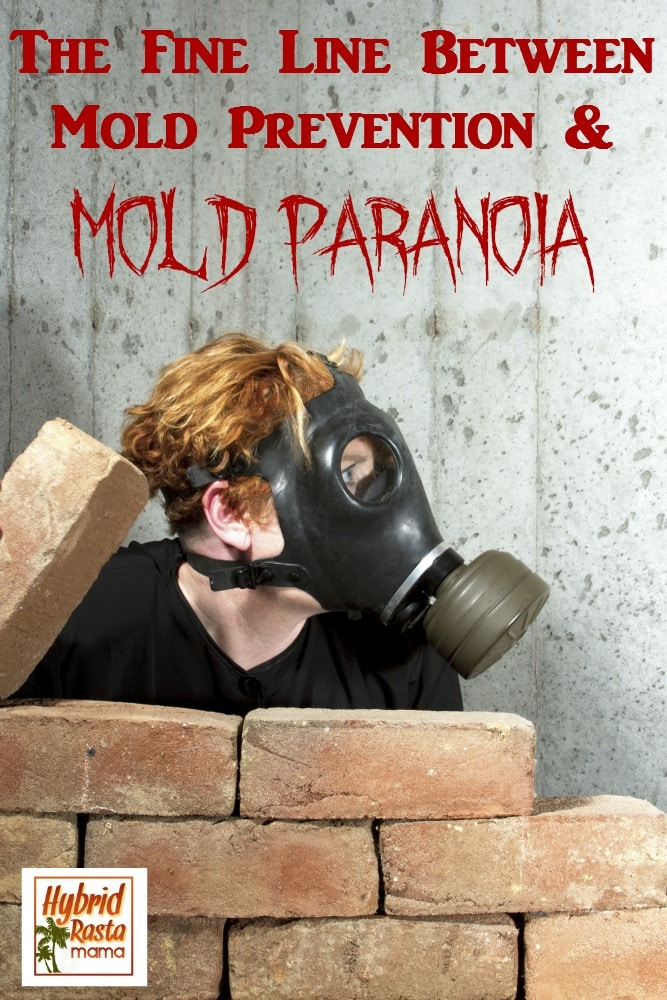 Mold Paranoia - a woman with a gas mask hiding behind a brick wall looking fearful.